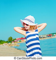 strand., reizen, vakantie, conception., kind, vrolijke