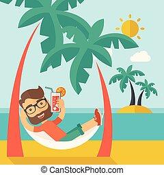 strand, relaxen, jonge man, th, drinkt, cocktail.