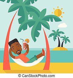 strand, relaxen, zwarte jonge man, th, drinkt, cocktail.