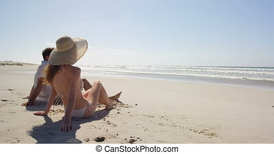 strand, samen, relaxen, 4k, paar