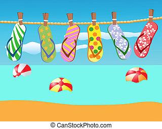strand, sandalen, opgeknoopt, op, een, koord