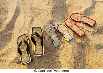 strand, sandals
