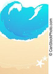 strand, sandig, vågor
