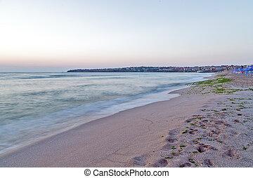 strand sandpappra, morgon, hav, vågor