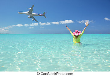 strand, scene., ivrig, exuma, bahamas