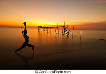 strand, silhouette, buiten, yoga