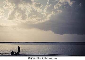 strand, silhouette, gezin