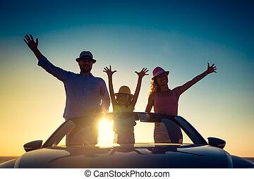 strand, silhouette, gezin, vrolijke