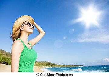 strand, solljus, bakgrund, kvinna avkopplande, ung