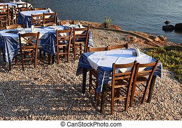 strand, solnedgång, anavyssos, restaurang