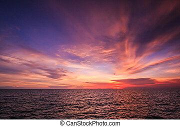 strand, solnedgång, hav, vågor, landskap