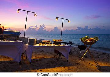strand, solnedgång, restaurang
