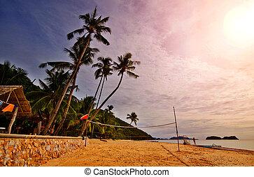 strand, solnedgång, sports
