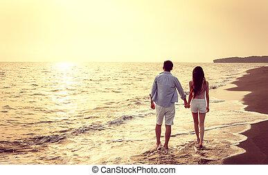 strand, solnedgang, gå, par, unge