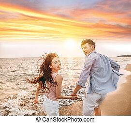 strand, solnedgang, morskab, stemningsfuld kobl, har