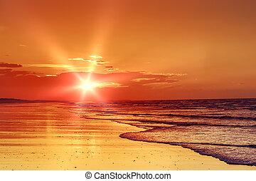 strand, solnedgang