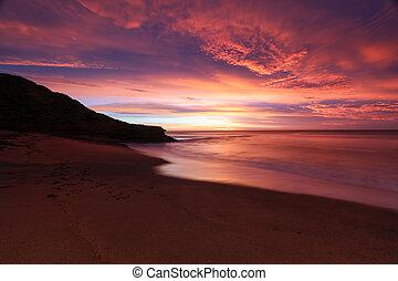 strand, solopgang, klokker