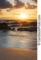 strand, soluppgång