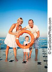 strand, spelend, gezin, vrolijke