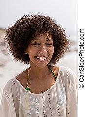 strand, staande vrouw, vrolijke