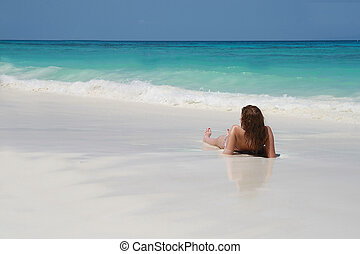 strand, sunbathing, vrouwen