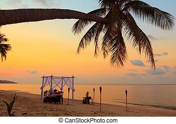 strand, tabell sätta, solnedgång, romantisk
