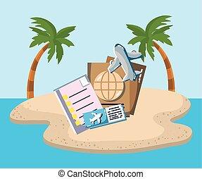 strand, ticket, paspoort, toerist, eiland, zee vliegtuig,...