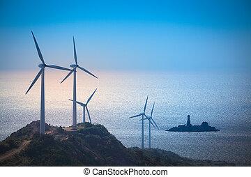 strand, turbines, wind, genereren, elektriciteit