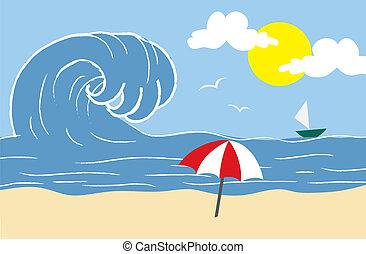 strand, vågor