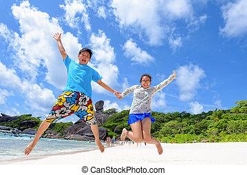 strand, vader, springt, dochter, thailand