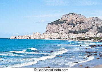 strand, van, cefalu, sicilië