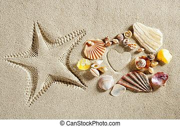 strand, vita sandpappra, hjärta gestalta, sjöstjärna, tryck, sommar