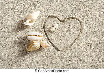 strand, vita sandpappra, hjärta gestalta, tryck, sommar ferier