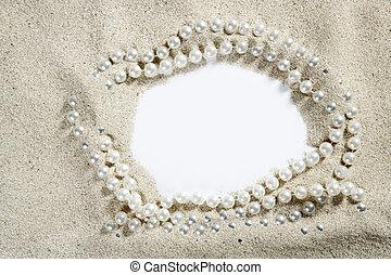 strand, vita sandpappra, pärla halsband, tom, avskrift tomrum