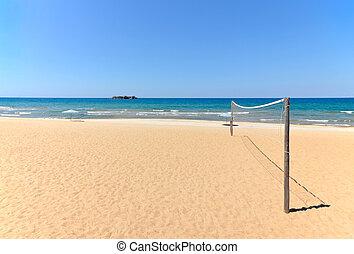strand volleyball, netz, auf, sandiger strand, mit, meer