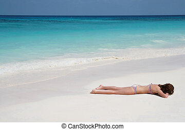 strand, vrouwen, sunbathing