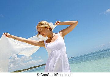 strand, witte , stola, bruid