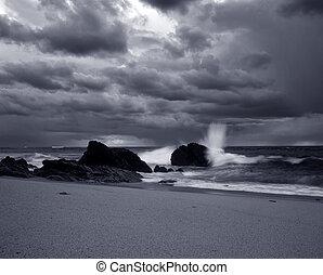 strand, witte , zwarte zee, stormachtig