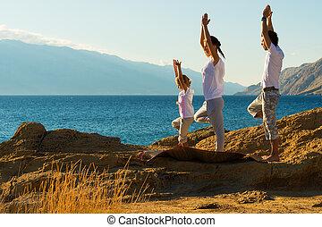 strand, yoga, ung släkt, övning