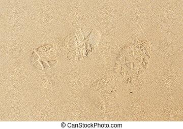 strand, zand, voetafdruk, zee