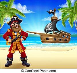 strand, zeerover, kapitein, spotprent, achtergrond, scheeps