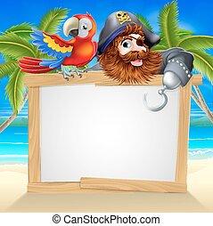 strand, zeerover, papegaai, meldingsbord