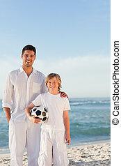 strand, zijn, vader, zoon