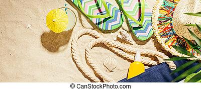 strand, zomer vakantie, spandoek, achtergrond