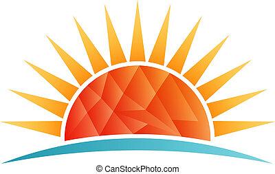 strand, zon, poly, vector, laag, logo, het glanzen