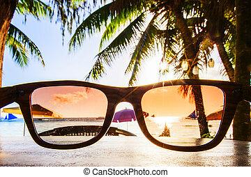 strand, zonnebrillen, door, aanzicht