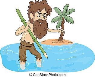 Stranded Man Fishing - Illustration of a Man Stranded on an...