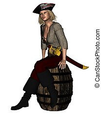 Stranded Pirate - Stranded female pirate sitting on a barrel...