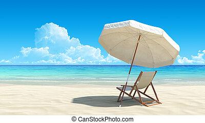 stranden stolen, och, paraply, på, idyllisk, tropisk, sand...