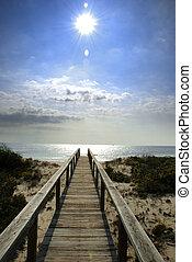 strandpromenad, solsken